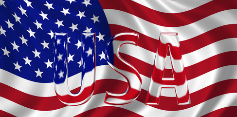 Glass USA text with Stars and Stripes