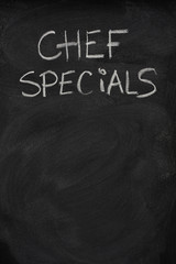 chef specials title on blackboard