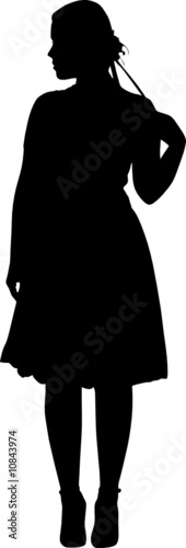 Vector beauty girl posing silhouette