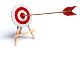 arrow hitting directly in bulls eye