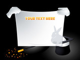 Magician hands holding banner with reflected rabbit