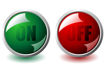 On and off interface round buttons over white