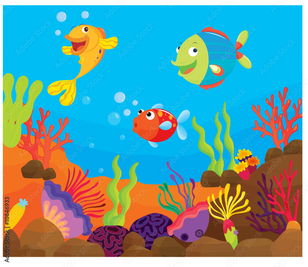 impression photo sur verre reef fish underwater illustration. Black Bedroom Furniture Sets. Home Design Ideas