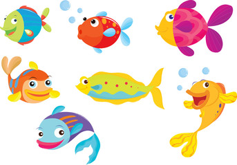 Illustration of a group of isolated colorful fish