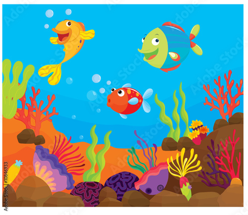 Papiers peints Sous-marin reef fish underwater illustration