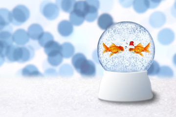 Christmas Snow Globe With Goldfish Santa Inside