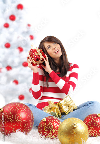 woman and christmas  gift