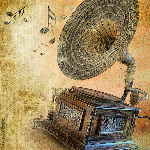 canvas print picture musical retro