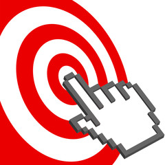 Cursor hand points to select red target bulls-eye
