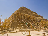 Restoration of the Great pyramid of Djoser in Saqqara poster