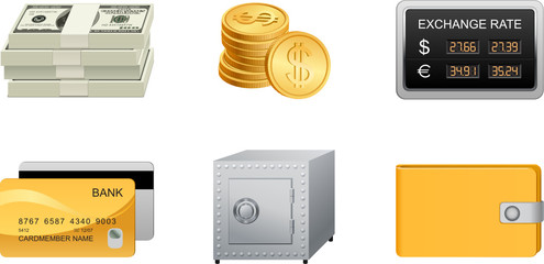 finances icons set