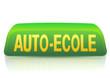 Enseigne d'auto-école verte et jaune (reflet)