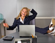 happy woman relaxing in office