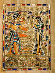 Egyptian papyrus: Tuthankamen and Ankhesenamon