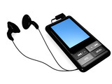 mp3 audio-video player with earphones isolated on white poster