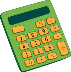 illustration of a green and yellow calculator