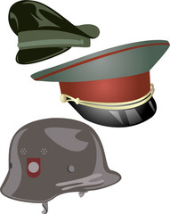 2 Military Hats and one Helmet.