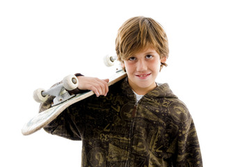 portrait of smiling boy holding skate