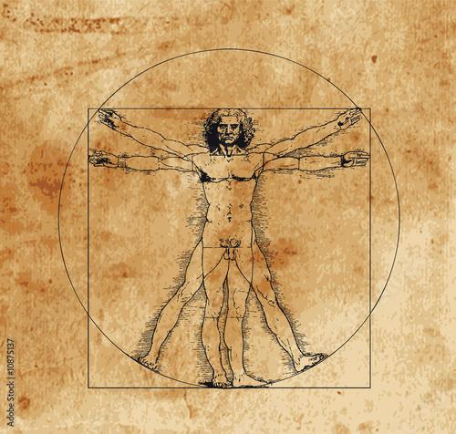 Fotobehang Akt vitruvian man