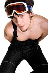 young man dressed in snowboarding gear