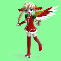 cute manga angel in festive clothing. With Clipping Path