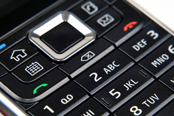 Mobile phone's buttons closeup
