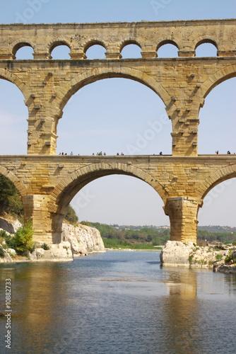 Fotobehang Marokko Pont du gard roman bridge vertical view