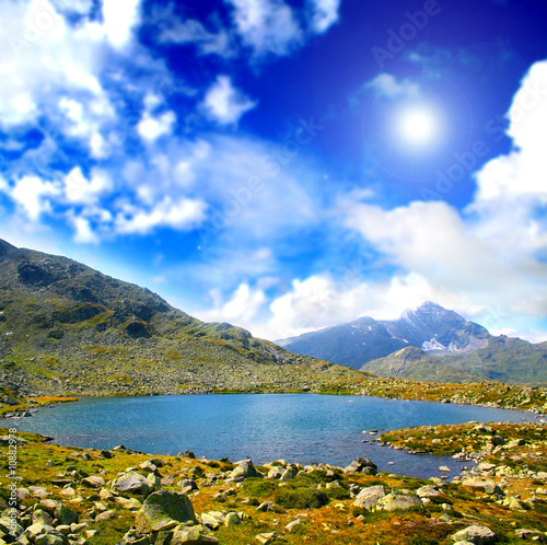 Mountain relaxing landscape with lake