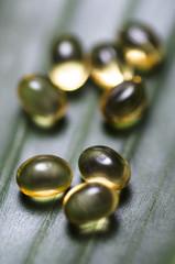 Omega 3 capsules, close-up
