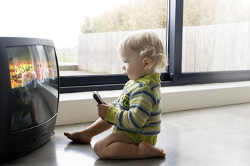 Little boy watching TV