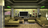 An interior visualization of a living room. poster