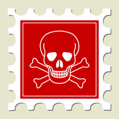Skull - Danger Sign Stamp