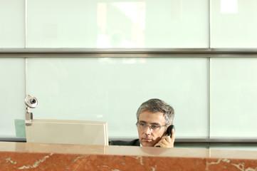 Mature businessman using telephone