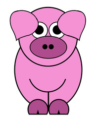Oink Oink Piggy Cartoon - Isolated On White