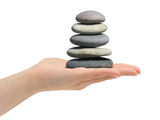 Stack of stones in hand