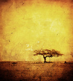 Fototapety grunge image of a tree on a vintage paper