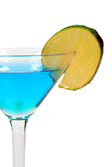 Isolated Blue Drink with Lime