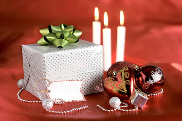 Christmas decorations and gift package with tag
