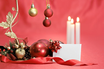 Christmas table and blank message card