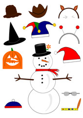 Snowman with interchangeable hat collection