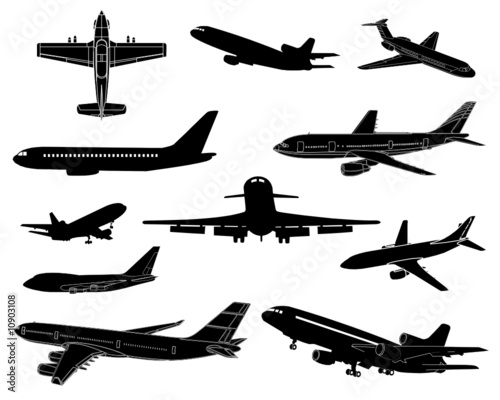 High detail civilian plane silhouettes