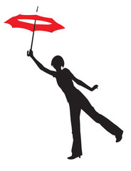 Silhouette of the young girl with umbrella