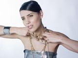 discomfort  woman with necklaces poster