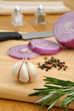 Aromatic ingredients: garlic, spanish onion,pepper and rosemary poster