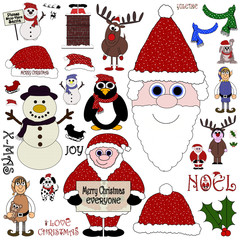 Christmas Cartoon Collection (No:2)- Isolated on white
