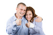 young couple showing ok sign