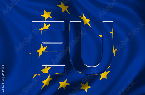 European Union Flag with EU text