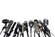 Leinwandbild Motiv Microphones At Press Conference