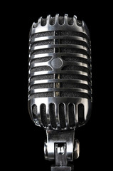 Vintage Microphone in Close-Up View
