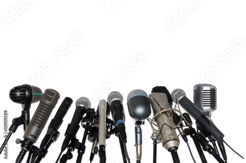 Poster Microphones At Press Conference